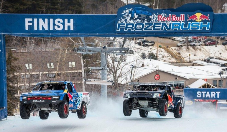 Menzies and Johnson across the finish line at the 2016 Frozen Rush Photo: Redbull