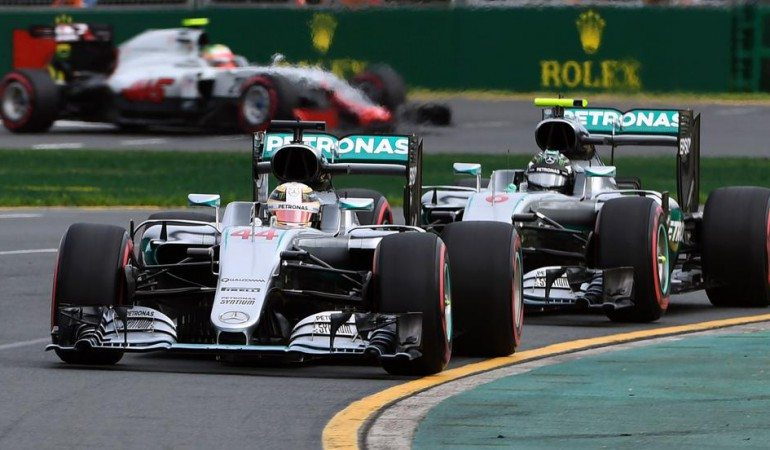 Hamilton in front with Rosberg nipping at his heels. Photo: gob