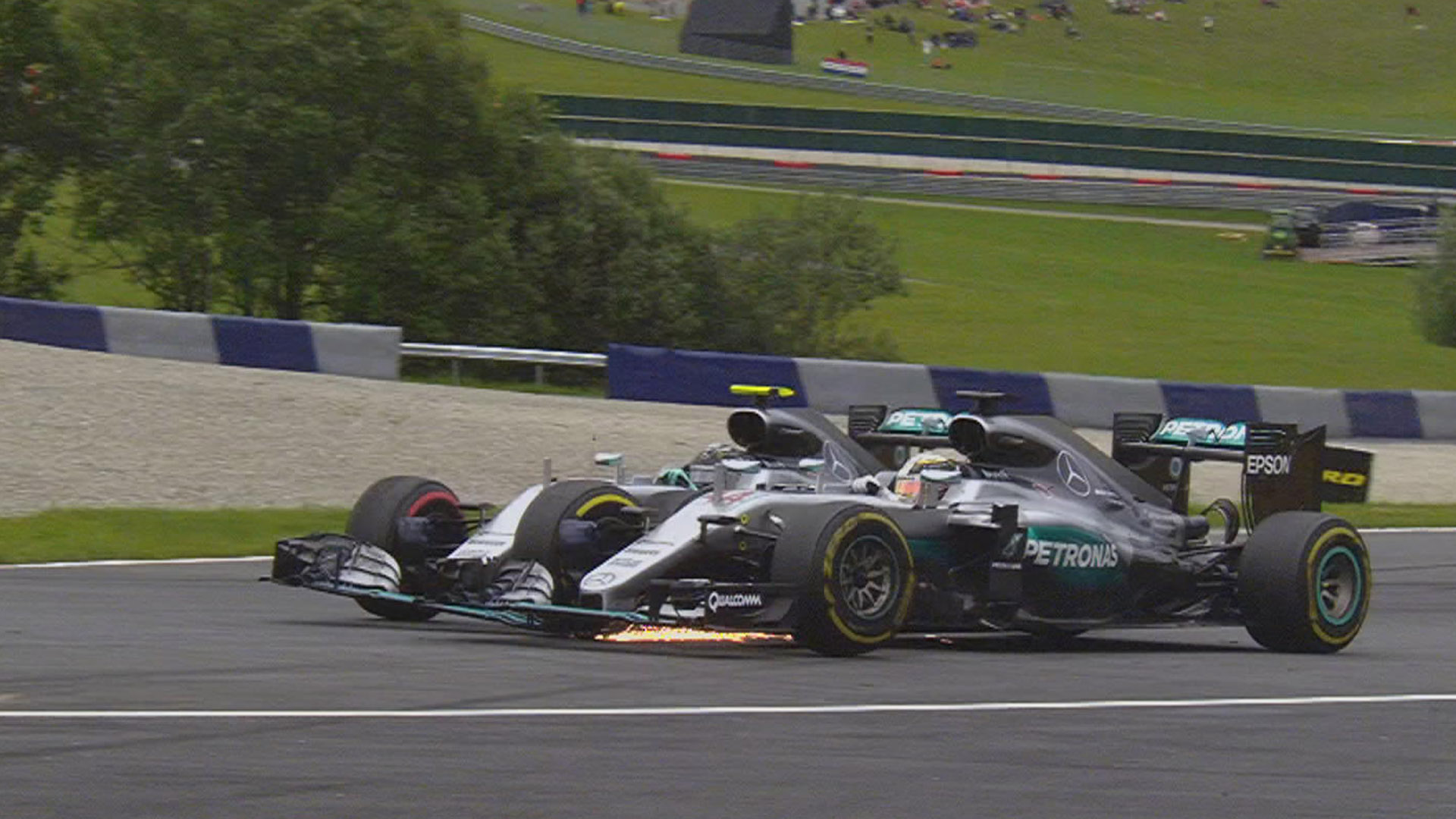 The point of contact where Rosberg drove into Hamilton Photo: skysports