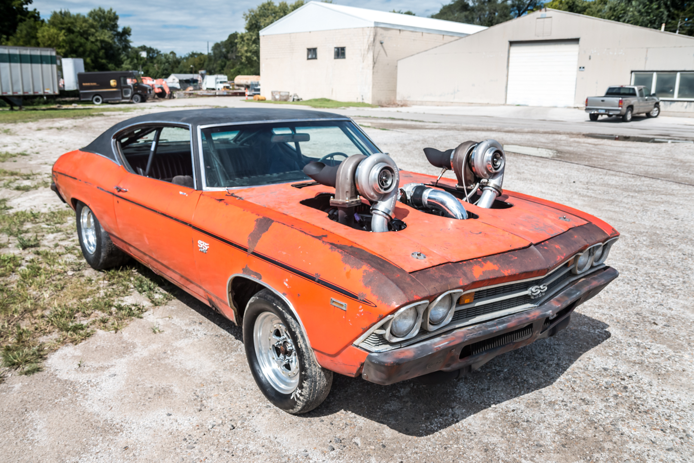 Old Chevelle with massive turbo system that was brought up from Australia. Photo: streetmachine
