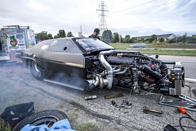 No this isn't an accident, this is what it took to repair the spindle, on the side of the highway Photo: hotrod