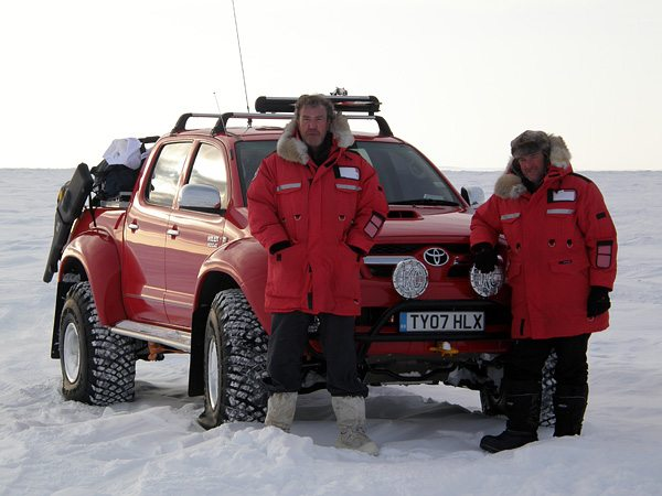 Clarkson and May with the North Pole Toyota Hilux Photo: markwoodexplorer