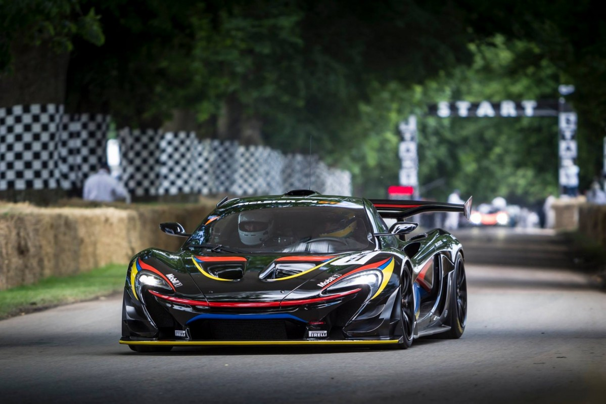 The colorful P1 GTR used for the test seen here at Goodwood Photo: drivemag