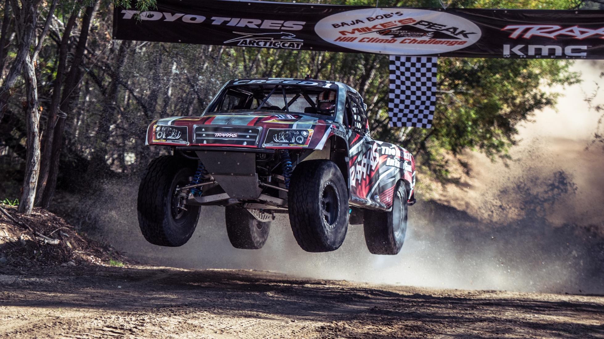 Sheldon Creed getting some solid air across the creek bed finish line Photo: topgear