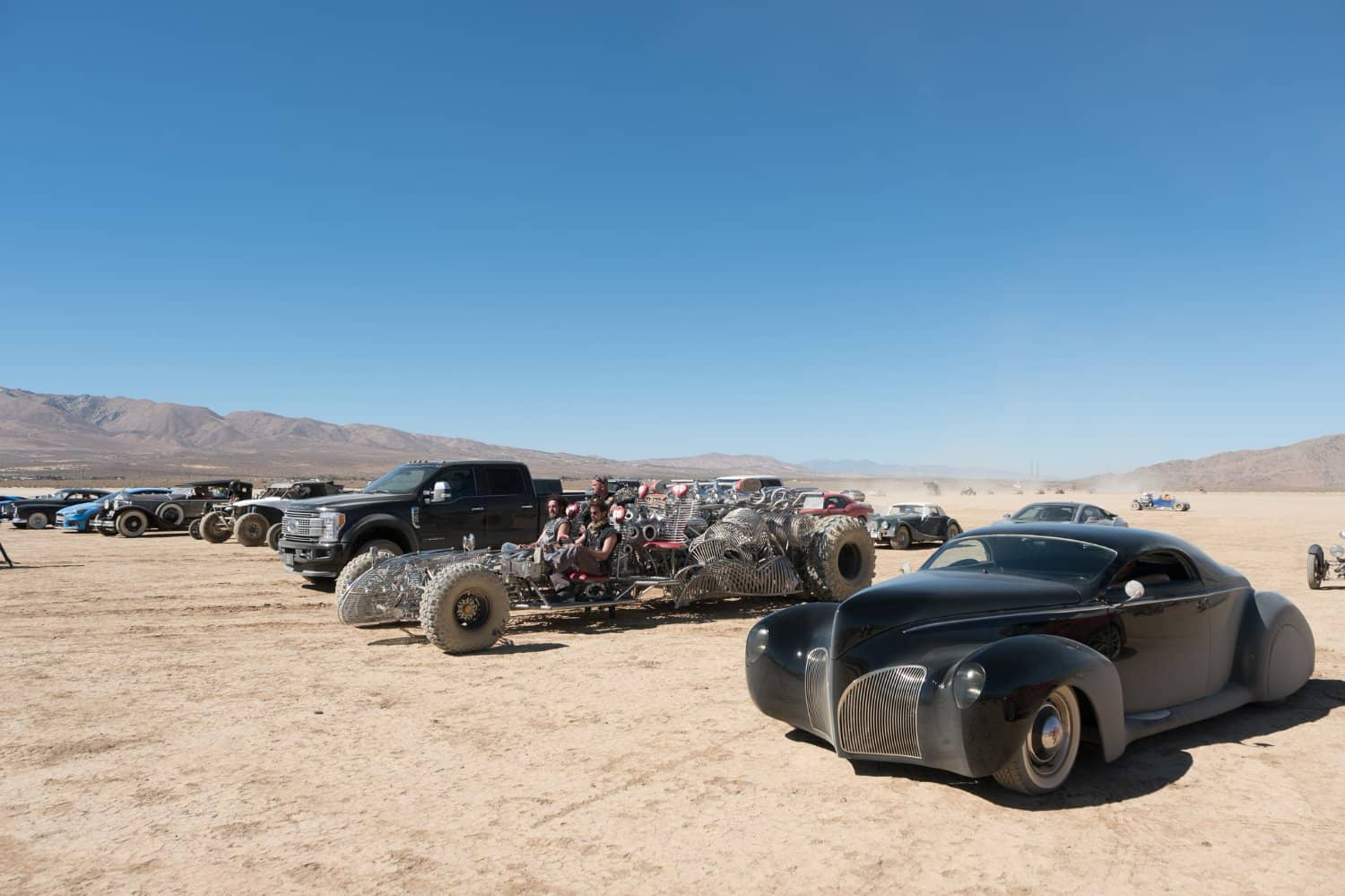 The wide array of cars used in the opening scene Photo: vimeo