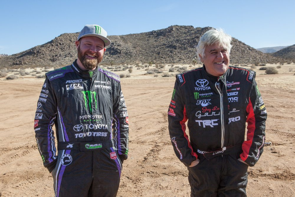 Leno standing with fellow Toyota driver and former Mint Champion Bj Baldwin Photo: mint400