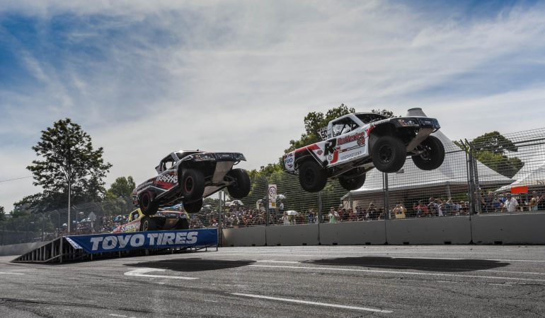 When Stadium Super Trucks Meet Asphalt the Racing Is Ferocious