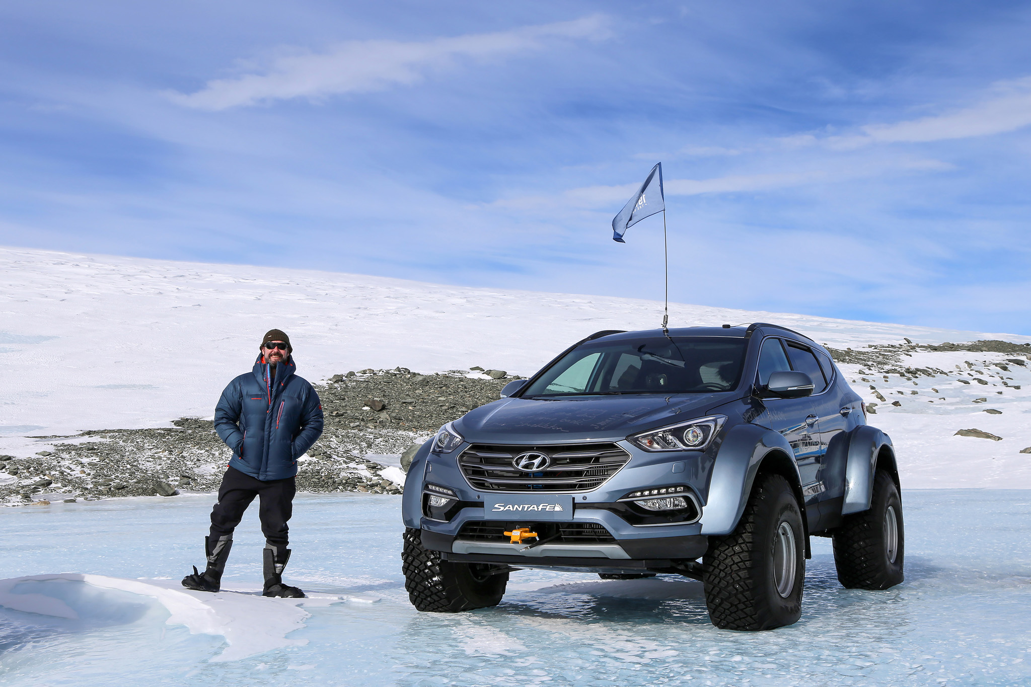 A Modified Hyundai Santa Fe Crosses Antarctica In