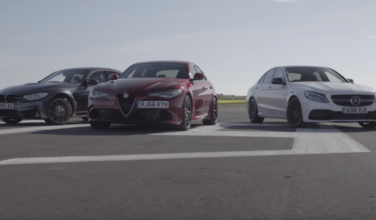 Who is Fastest to 150mph: Mercedes-AMG C63 S vs Alfa Romeo Giulia Quadrifoglio vs BMW M3 Competition Pack