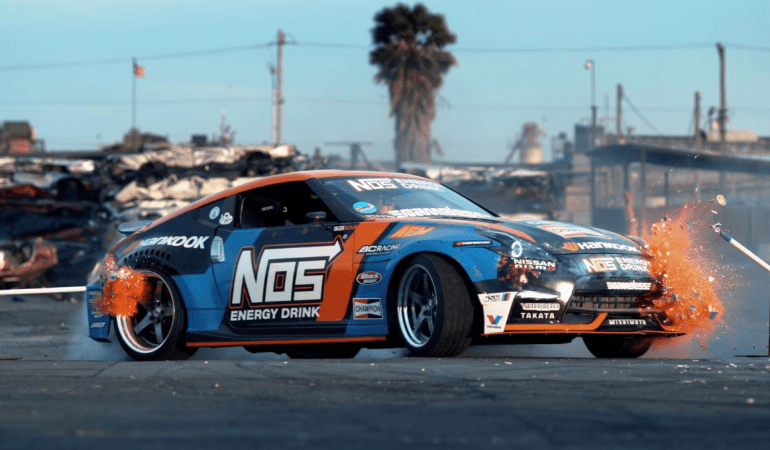 Watch Drift Champion Chris Forsberg Unleash His 1,000hp 370Z On an Old Junkyard